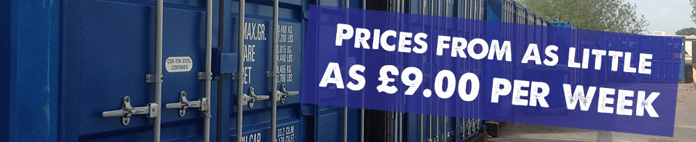 Self Storage Prices from as little as £9 per week